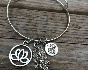 Spiritual Lotus bracelet, Ganesha Bracelet, Yoga Bracelet, Charm Bangle, Charm bracelet, Ohm bracelet