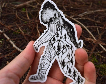 "Sasquatch Bigfoot Sticker 4"" Weatherproof and durable, Outdoor sticker, Forest Art, Ferns, Wildlife, Mountains, Moon , Trees"