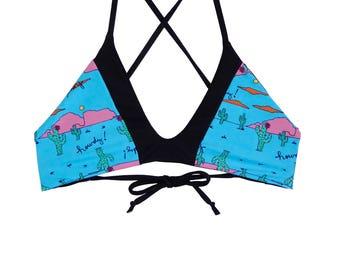 Reversible Color Block Bikini Top- MADE TO ORDER- Cactus // Gift For Her // Boho // Custom // Black // Handmade // Swimwear // Beach