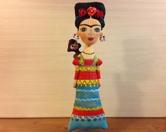 decorative doll Frida doll human figure fabric doll Frida Kahlo art doll mexican art Frida gift handcrafted mexican painter Diego Rivera