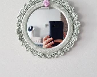Crochet mirror, small round morror