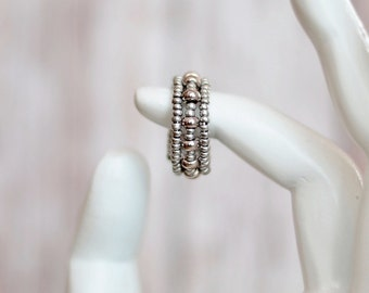 Silver ring - Adjustable ring - Bohemian Ring - Birthday gifts for her - Handmade Ring - Hippie ring - Wire ring - Silver Seed bead ring