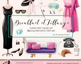 Breakfast at Tiffanys Watercolor Clipart Set