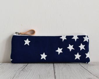 Hand printed fabric pen case blue with white stars