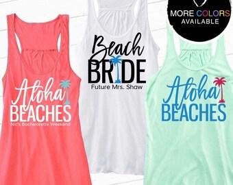 Beach Bride or Aloha Beaches Flowy Racerback Tank {with Palm Tree}, Bride Tank, Bridesmaid Tank, Bachelorette Party | #1365