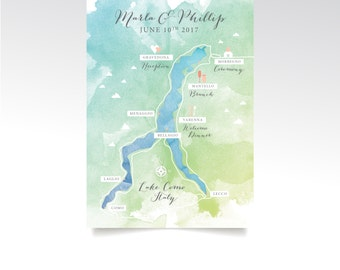 Level 3 Map . Lake Como Italy Map 5 x 7in Card . Custom Wedding Watercolor & Directions . Calligraphy Destination Lake Alps . PRINTED