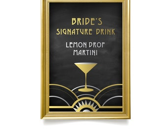The ALICE . Martini Signature Drink Wedding Bar Sign PRINT or PDF . Custom Drink Icon . Black & Gold Silver Art Deco Waves Great Gatsby 1920