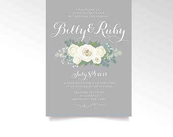 The RUBY . 60th Anniversary Invitation & RSVP Printed Set . Rose Babys Breath Eucalyptus Peony Dusty Miller Gray White Calligraphy Diamond