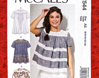 McCall's Sewing Pattern M7544 Loose Fitting Tops, Yoked Blouse, Gathers Tucks Pleats, Sizes 6 8 10 12 14, DIY Summer Fall Casual Wear, UNCUT