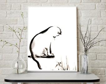 Cat Print, Minimalist Cat Painting, Watercolor Painting Art Print, Cat Wall Art, Modern Home Decor