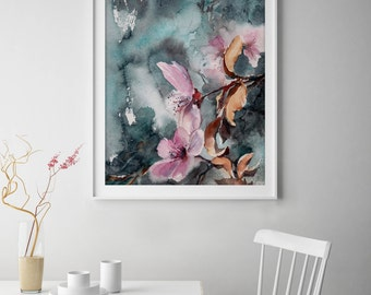 Floral art print, blooming branch watercolor painting print, fine art print, emerald green and pink wall art