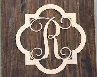 "24"" Wood Quarterfoil Single letter Curly Monogram Laser Cutout Shape Custom Initial Unfinished"