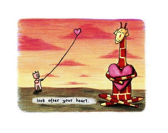 Motivating Giraffe - Look after your heart - 8x11 A4 Print