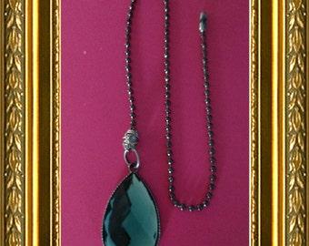 Ceiling Fan Pull Chain / Light Chain / Home Decor - Blue Gem - Bronze Ball Chain - Silver Wire Wrapping - Aqua Gem - Bling