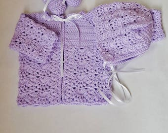 Lilac Infant Girl Sweater Set, Layette Set, Crochet Baby  Sweater, Newborn Sweater,  Baby Girl Home Coming Outfit,  Baby Shower Gift