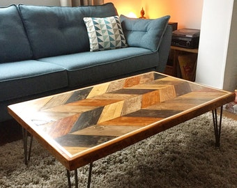 reclaimed wood coffee table with inlaid metal strips