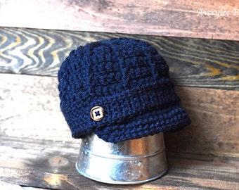 Navy Blue Newsboy Hat, Baby Boy Hat, Crochet Newsboy Hat, Boys Navy Blue Hat, Toddler Blue Hat, Newborn Hat, Preemie Newsboy Hat, Photo Prop
