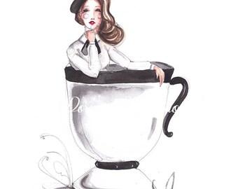 Coffee artwork, Fashion illustration, Coffee print, Fashion sketch, Fashion print, Coffee art, Fashion art, Coffee illustration
