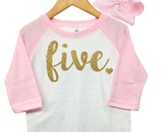 Girls Fifth Birthday Outfit, 5th Birthday Shirt Girl, Pink and gold 5th birthday outfit, Five Shirt, 5th Birthday Girl Outfit,Pink Raglan