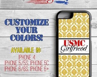 USMC Girlfriend Phone Case - Damask Phone Case - Marine Girlfriend iPhone case -iPhone 5 - iPhone 5s - iPhone 5c - iPhone 6 - iPhone 6 Plus