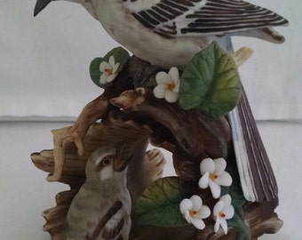 Vintage Homco Bird Figurine Mockingbird With Baby Figurine Hand Painted Porcelain Masterpiece