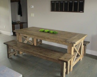 Large Rustic Dining Table With Planter Insert in Middle and Two Oversized Benches