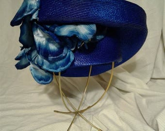 vintage, ANN MARIE, formal hat, Sunday, beautiful blue straw with floral accents, blue, derby, Kentucky derby, Easter, blue, floral