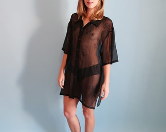 Oversized Sheer Black Short Sleeve Blouse with Eyelet Flowers!