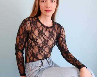 90s Sheer Black Lace Top with Long Sleeves