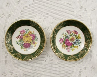 Pair of Royal Falcon Trinket Dishes, Green with Flowers, Ironstone, Small Dish, Butter Dish, Nut Dish or Candy Dish, Vintage