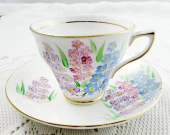 Vintage Tea Cup and Saucer by Clare with Flowers, Bone China Teacup and Saucer