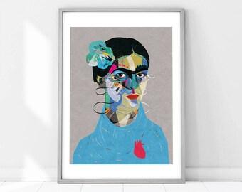 Frida | llustration art giclée print | frida print ,print, Wall decor, signed art, wall art, portrait, poster, high quality A4|A3|A2 |