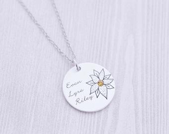 Grandma or Mom Pendant with Birthstone - Mommy Jewelry - Grandmother - Hand Stamped Jewelry - Birthstone Jewelry - Godmother - Nana