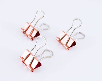 Rose Gold Binder Clips — set of 3 — Copper Binder Clips — Perfect For Securing Papers