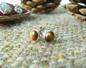 Cute Tiger's Eye & Sterling Silver Stud Earrings. 5mm Round Cabochons - Notched Posts with Butterfly Backs.