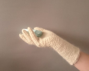 White wool ladies gloves - lambswool and mohair hand knitted ladies gloves - 1940s style gloves Ringwood gloves