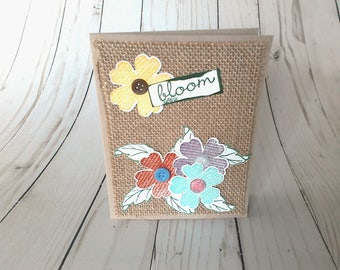 Rustic Greeting Card, Blank Greeting, Paper Greeting Card, Handmade Card, Blank Greeting Card, Flower Greeting Card