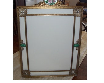 Vintage Brass Picture Frame, Large Picture Frame, Ornate Vintage Brass Picture Frame