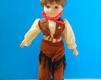 Cute Country Western Cowgirl Doll With Stand, Cowgirl, Vintage Cowgirl, Western Doll, Doll, Vintage.