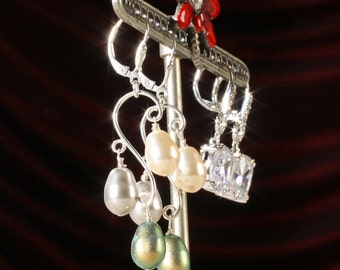 Sterling Silver Swarovski® Crystal Core Tri Color Pearl Dangle Lever Back Earrings, 2 1/4 inch Long