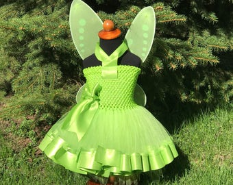 Disney Tinkerbell Fairy Inspired Lined Ribbon Edge Tutu Dress with Wings- FREE Personalization