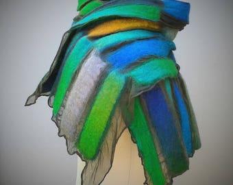 Green and blue nuno felt scarf.