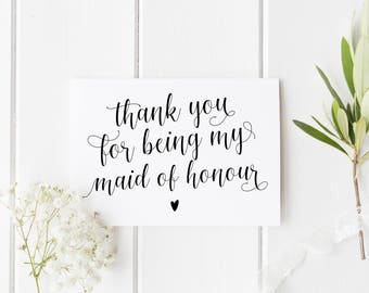 Thank You Maid Of Honour Card, Maid Of Honor Card, Wedding Thank You Card, Calligraphy Maid Of Honour Card, Best Friend Wedding Card