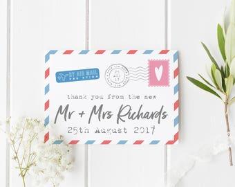 Destination Wedding Card, Custom Mr & Mrs Wedding Card, Air Mail Wedding Card, From The New Mr And Mrs, Postcard Wedding Thank You Card