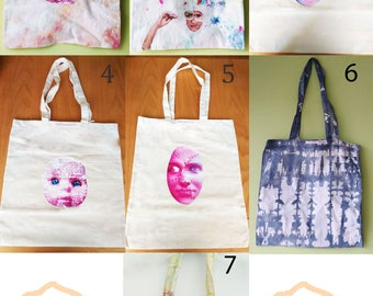 Unique handmade design tote bags.FrancescaRoseJ.Only one available of each,choose which one you would like from the dropdown menu.