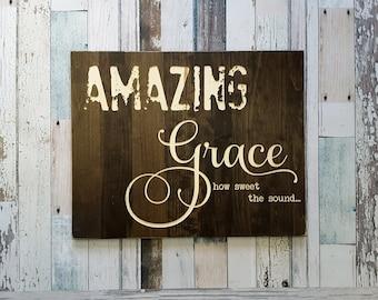 Amazing Grace Wood Sign | Amazing Grace how sweet the sound | Hymn Art | Amazing Grace | Wood Wall Art | Amazing Grace Sign