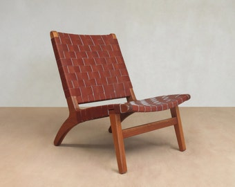 Accent Chair, Leather, Mid Century Modern, Lounge Chair, Mahogany,  Handwoven Seat