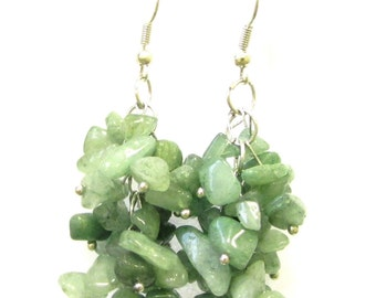 Green Aventurine Natural Stone Drop Earrings Silver Hook Chandelier Druzy 1098