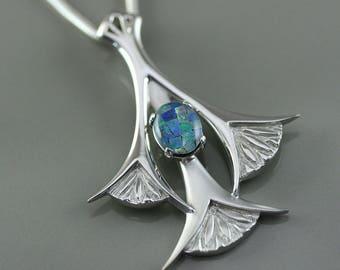 Art nouveau necklace, silver art nouveau necklace, silver and opal necklace, art nouveau jewelry,  unique jewelry, 3 flowers necklace
