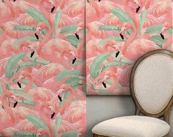 Tropical Flamingo Repositionable Peel 'n Stick Wallpaper Custom Lengths to 15 feet